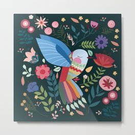 Folk Art Inspired Hummingbird With A Flurry Of Flowers Metal Print