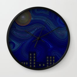 Blue Van Gogh Inspired Dark Night City Skyline Wall Clock