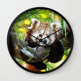 CArt red Panda Baby Wall Clock