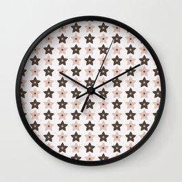 Winter Rustic Stars Lino Cut Wall Clock