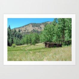Rustic Mountain Cabin Art Print