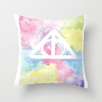 deathly hallows Throw Pillows featuring Deathly Hallows  by Mackenzie Hahn