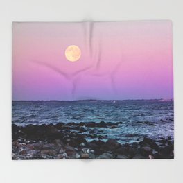 Full Moon on Blue Hour Throw Blanket