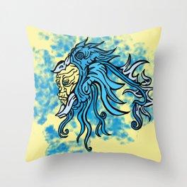 Monochrome Blue Throw Pillow