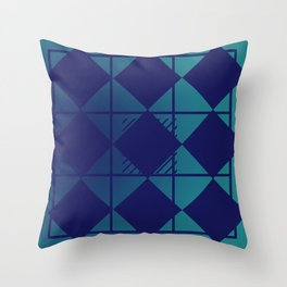 Blue,Diamond Shapes,Square Throw Pillow