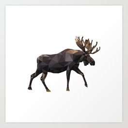 Polygon geometric Moose Art Print