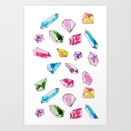 Watercolor Gem Stone  Art Print