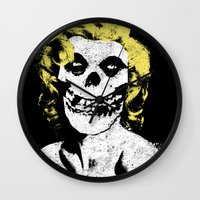 misfits Wall Clocks featuring Misfits Monroe by AtomicChild