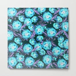 Abstract Poppy Pattern Blue And Black Metal Print