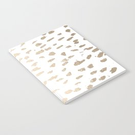 Gold Modern Polka Dots on White Notebook