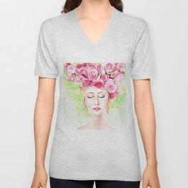 Girl in roses Unisex V-Neck