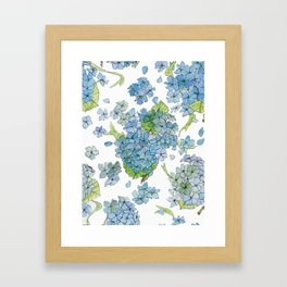 Blue Hydrangea Watercolor Framed Art Print