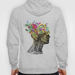 Bright neon pink yellow abstract anatomical skull Hoody