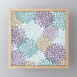 Festive Floral Prints, Purple, Teal, Gold Framed Mini Art Print