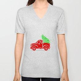 Vintage Red Truck Christmas Truck Unisex V-Neck
