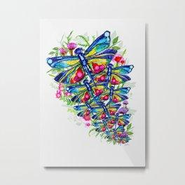 Tropical Dragonfly Garden Metal Print