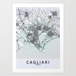 Cagliari, Italy, White, City, Map Art Print