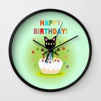 happy birthday Wall Clocks featuring Happy Birthday! by BATKEI