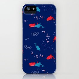 Blue Dolphin and Red Shark Olympic iPhone Case