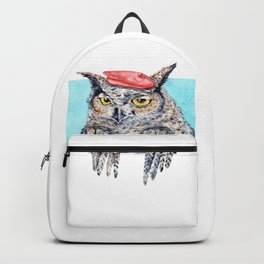 Serious Horned Owl in Red Beret Backpack