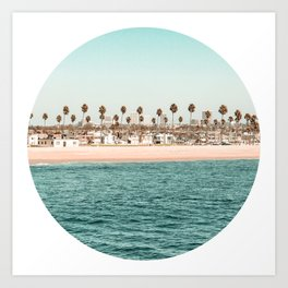 Vintage Newport Beach // Circle Crop Cut Out Photography Ocean Palm Trees Teal Tropical Summer Sky Art Print