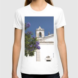 Purple Blossom On White Building - Portugal Art Print - Nature Travel Photography vibes -  Pastel Co T-shirt