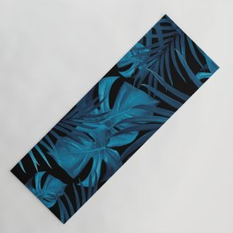 Tropical Jungle Night Leaves Pattern #2 #tropical #decor #art #society6 Yoga Mat