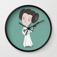 leia Wall Clocks featuring Leia  by Rod Perich