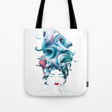 A girl with aqua hair Tote Bag