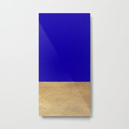 Color Blocked Gold & Cerulean Metal Print