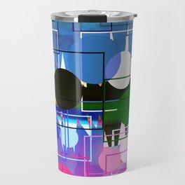 Multi- Blue Sticker Line Abstract Design Travel Mug