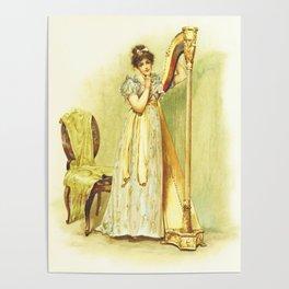 Harp, old book illustration, vintage poster Poster