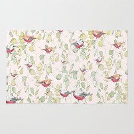 bird surface pattern design - light pastel green (Screen printed) Rug