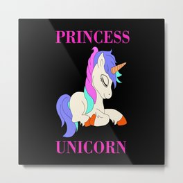 Princess Unicorn Mystical Creature Uni Metal Print