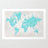 Turquoise and distressed grey world map with outlined countries Art Print