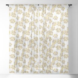 Cute golden paws in pastel colors Sheer Curtain