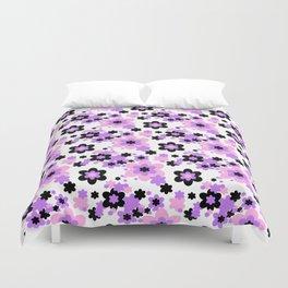 Pink Purple Black Floral Duvet Cover