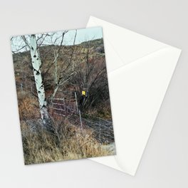 fence w/ tree & sign (02-15) Stationery Cards