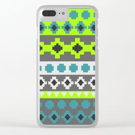 Bright tribal stripes in green and blue Clear iPhone Case