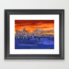 Ben Franklin Bridge Sunset Framed Art Print