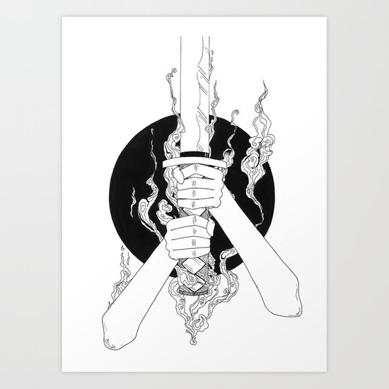 Samurai Spirit (Original Sketch) Art Print