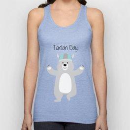 Cute Bear in Viking Hat - National Tartan Day Unisex Tank Top