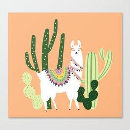 Cute Llama with Cactus Canvas Print