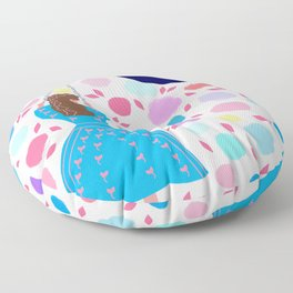 The girl and the swallow Floor Pillow