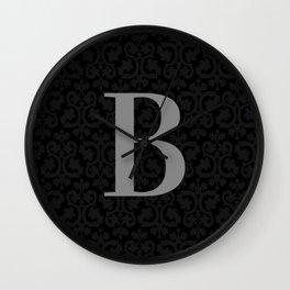 Modern Black Grey Damask Letter B Monogram Wall Clock