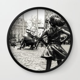 Fearless Girl & Bull - NYC Wall Clock