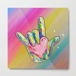 ASL I LOVE YOU Heart Metal Print