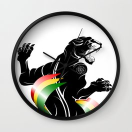Panther Rastafarian Flag Wall Clock