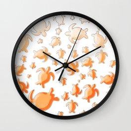 Orange turtle shapes Wall Clock