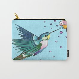 Hummingbird Blue Carry-All Pouch